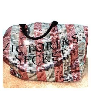 sequin victoria secret tote bag